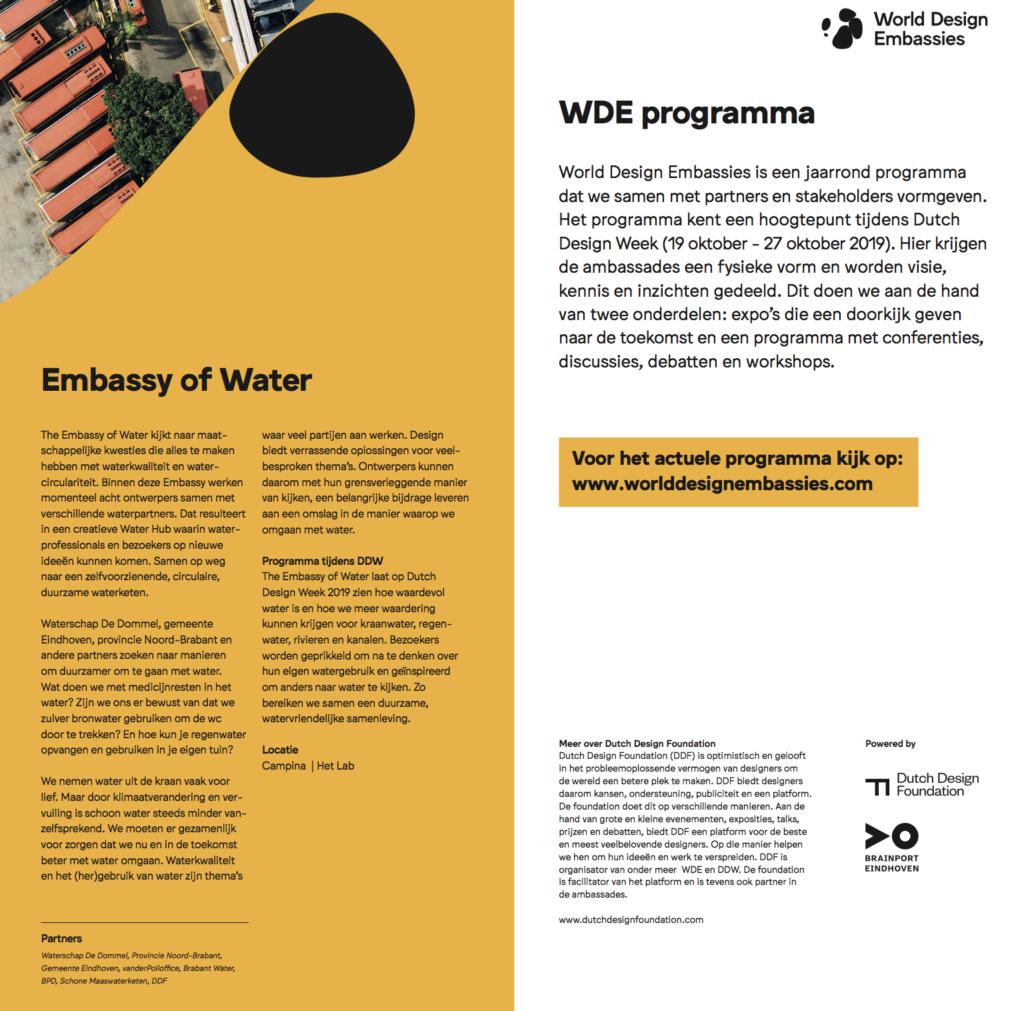Programmaboekje Embassy of Water, Dutch Design Week 2019, tekst Marjolein Bezemer